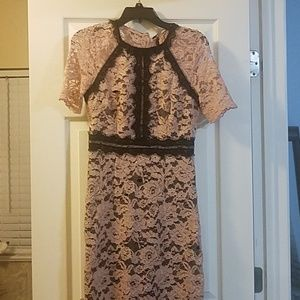 Pink and black lace dress